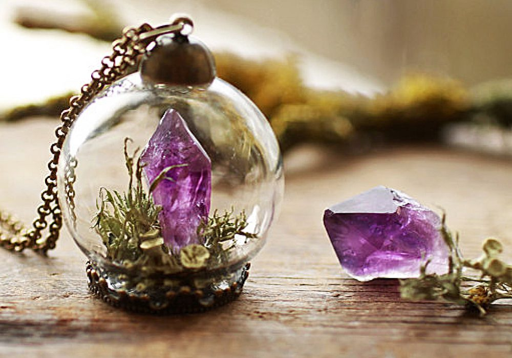 Ruby Robin Boutique Amethyst Crystal Terrarium Necklace Unique Fashion Jewelry