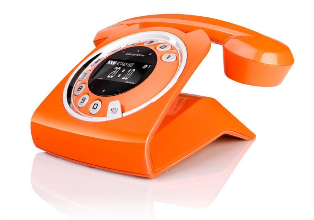 Sagemcom Sixty Cordless Telephone Stylish Retro Orange