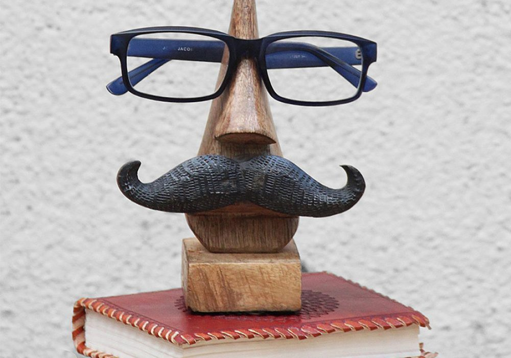 Sarangpur Wooden Spectacle Holder with an Amusing Mustache Eye Glasses Holder