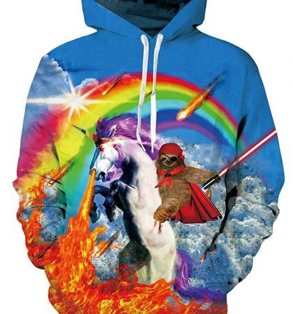 Men Hoodies & Sweatshirts Scary Unicorn Pirate Sloth