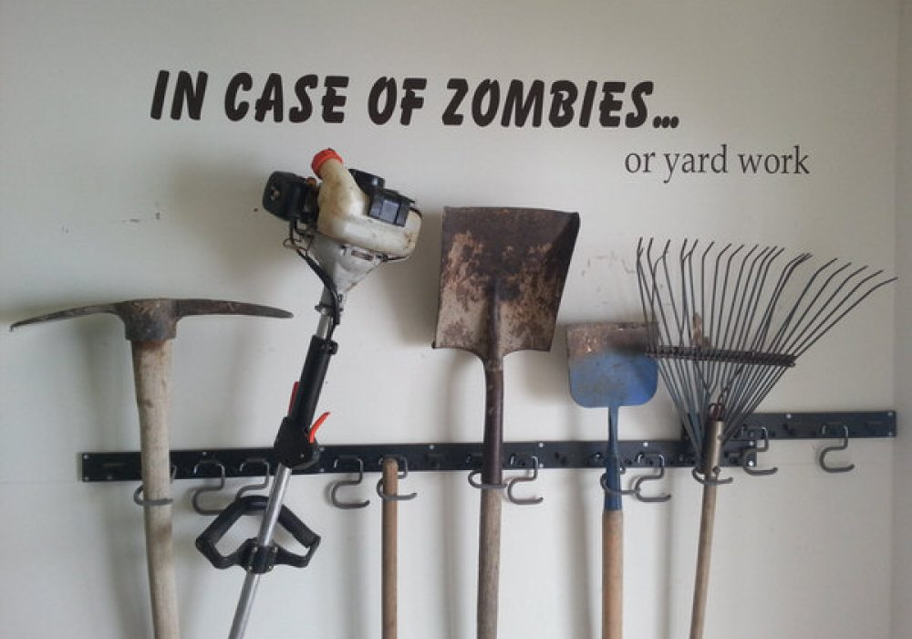 Scribbles on a Wall In Case Of Zombies Wall Decal Funny Stickers