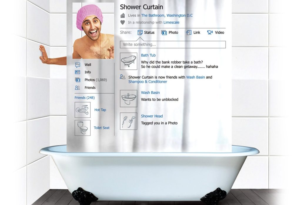 Social Shower Curtain Funny Gift