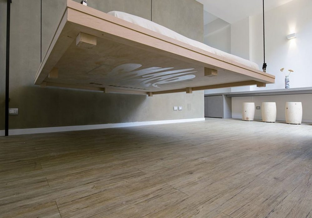 Space Saving Bed Raising furniture to Ceiling