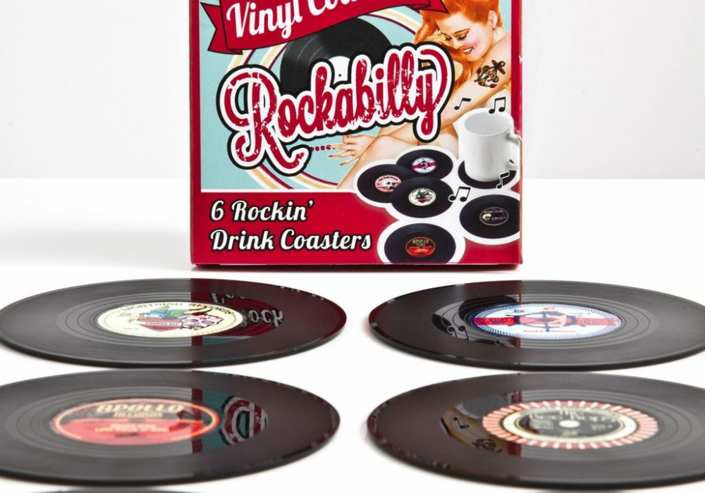 Spinning Hat Rockabilly Vinyl Coasters Cool Gift Idea for Her