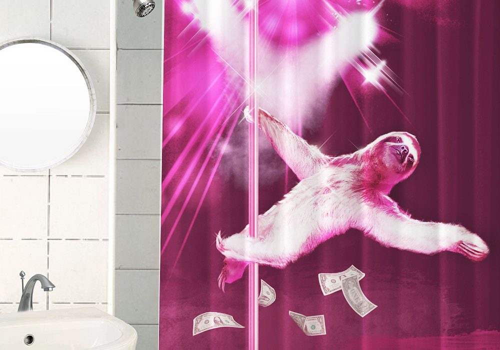 Stripper Sloth Shower Curtain Funny Gift Pink Shower Theme Interior Design
