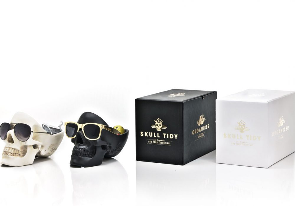 Suck UK Skull Tidy With Black and White Boxes and Gold Glasses