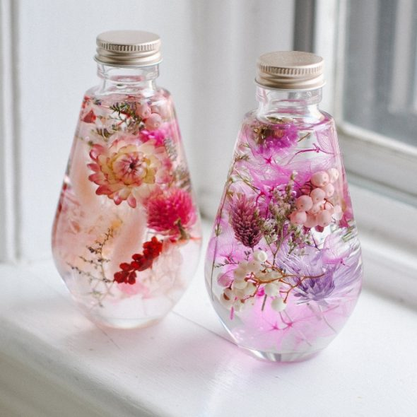 SullisGarden Real Preserved Flowers in Japanese Herbarium Bottle