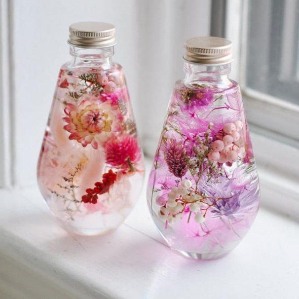 SullisGarden Real Preserved Flowers in Japanese Herbarium Bottle