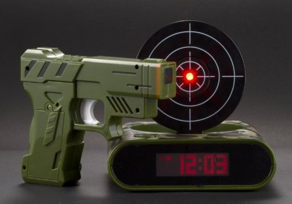 Target Gun Alarm Clock Army Green Version Fun Way to Wake Up