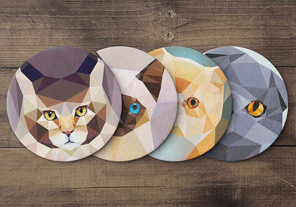 Teide Shop Polygonal Cats Coaster Set Made from High Quality Cork