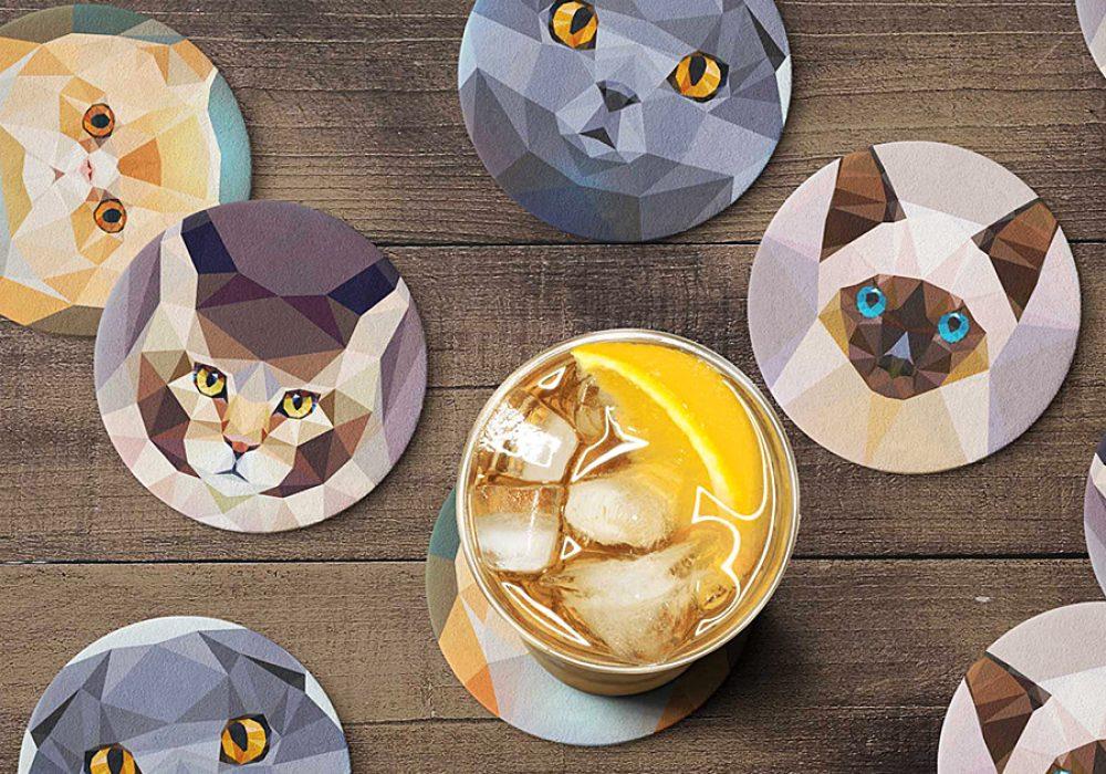 Teide Shop Polygonal Cats Coaster Set Novelty Item