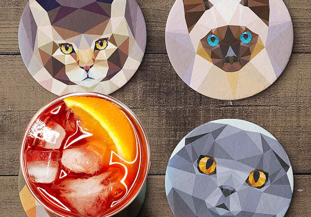 Teide Shop Polygonal Cats Coaster Set Personalized Coasters