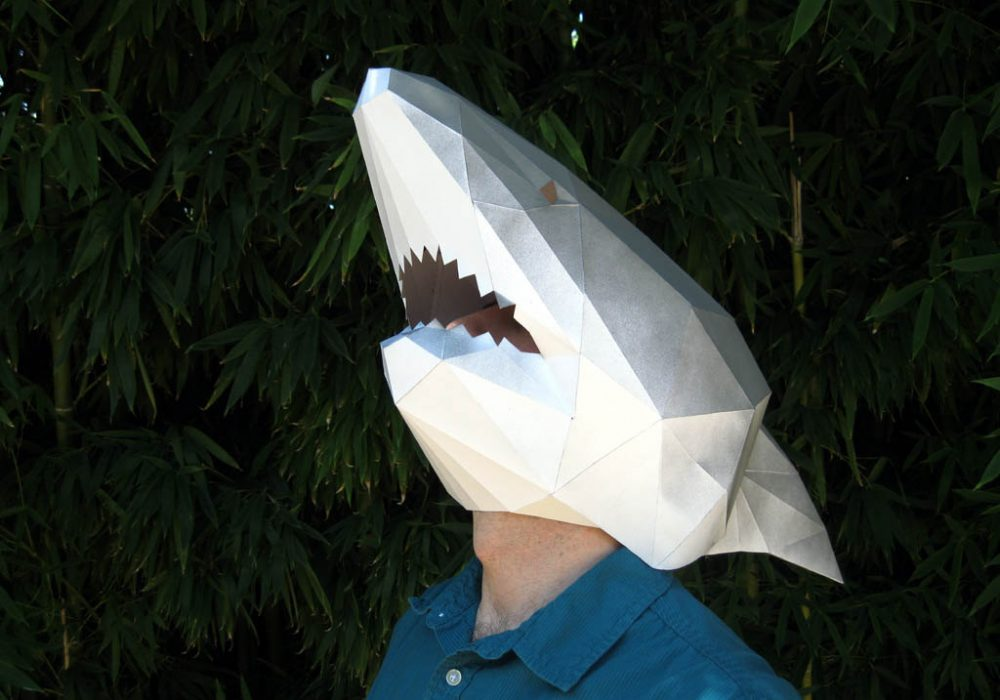 Tetra Variations DIY Paper Shark Mask Awesome Head Costume to Buy