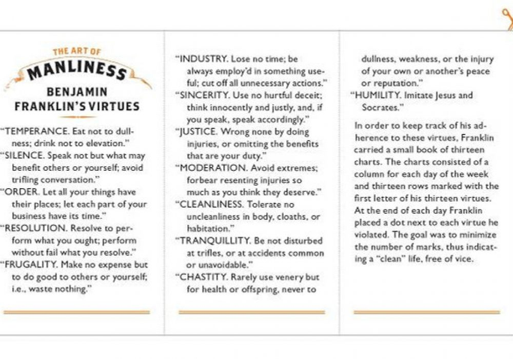 The Art of Manliness Classic Skills and Manners for the Modern Man Benjamin Franklin Virtue Page