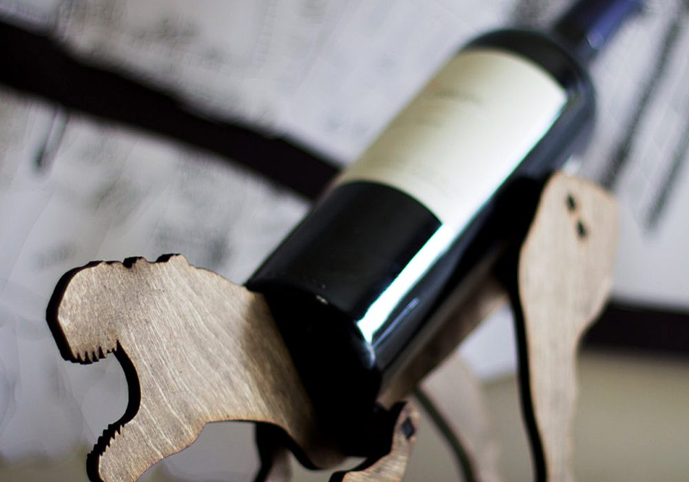The Back Pack Shoppe Tyrannosaurus Rex Wooden Wine Rack Best Gift Idea