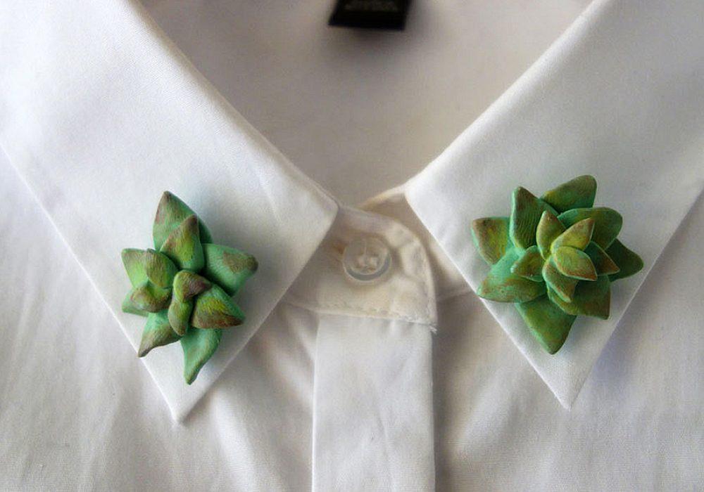 The Curious Cactus Succulent Collar Pins Garment Accessory