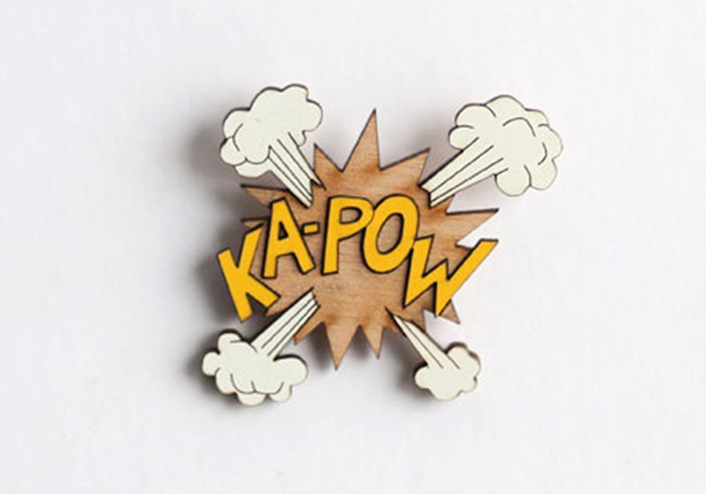 The Make Lab Ka-Pow Wooden Pin Cool Handmade Accessory for Garment
