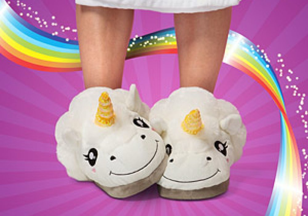 Thinkgeek Plush Unicorn Slippers for Grown Ups Gift Idea for Girlfriend