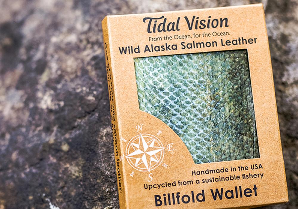 Tidal Vision Alaska Salmon Leather Billfold Wallet Accessories