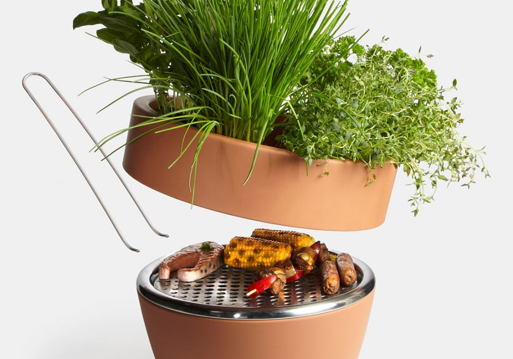 Two in One Planter & Barbecue Hidden Grill in a Flower Pot