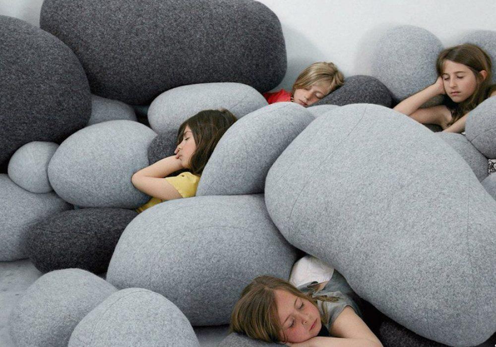 Vercart Living Floor Stone Pillows Zen Theme