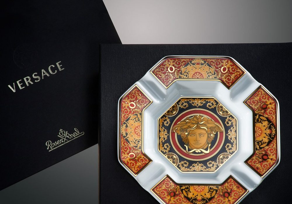 Versace by Rosenthal Medusa Ashtray Red Vintage Feel Golden Intricate Patterns