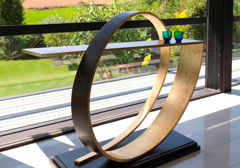 Villiers Cyclone Console Table in Old Penny Bronze Trendy Abstract Designer Furniture