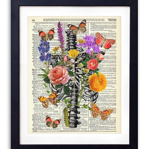 Vintage Book Art Co Rib Cage With Flowers Butterflies & Caterpillar Upcycled Vintage Dictionary Art Print