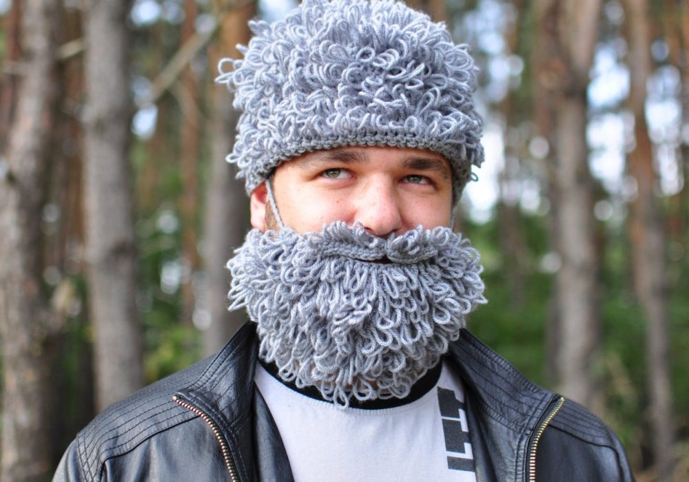Warm Yourself Lumbersexual Crochet Beard Funny Winter Accessory