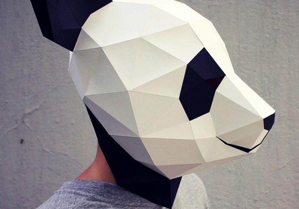 Waste Paper Head DIY Paper Panda Mask Paper Mache
