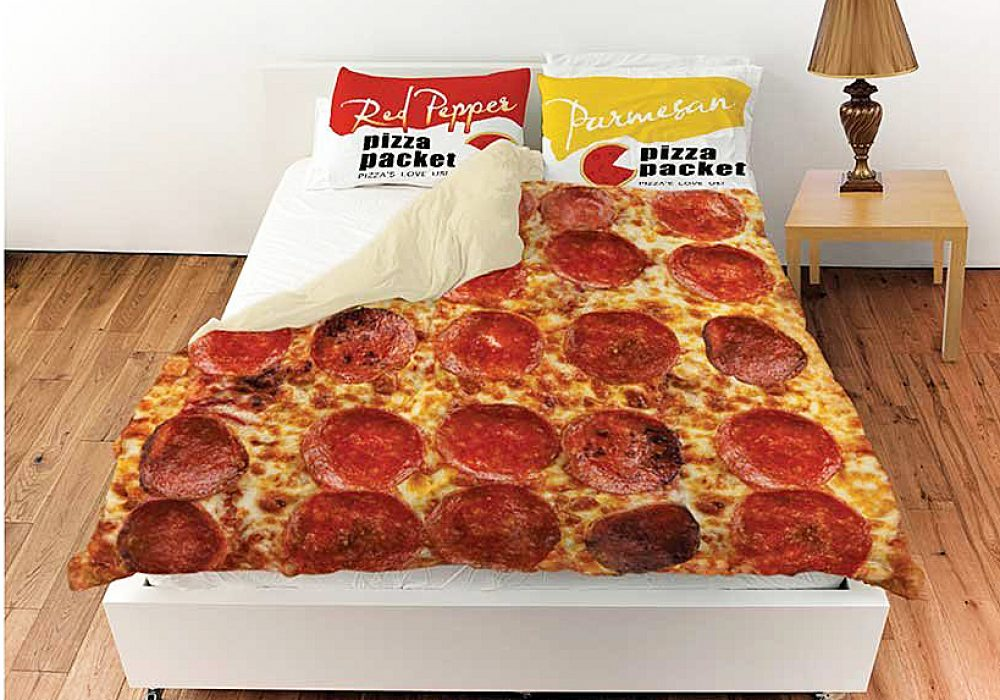 What on Earth Pepperoni Pizza Queen Duvet Cover with Pillow Shams Gift Idea For Him