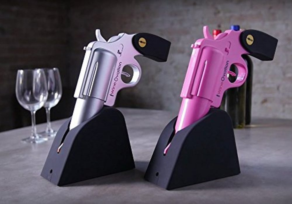 WineOvation Powered Wine Opener Gun Pink and Silver