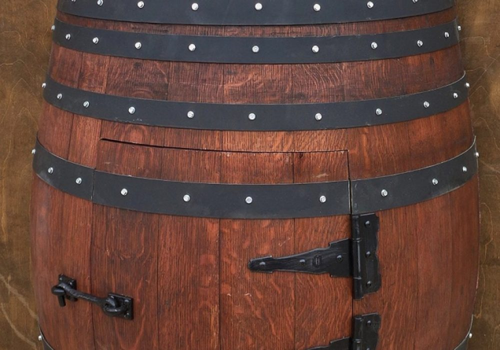 Wood Art Worlds Certified French Oak Half Wine Barrel Bathroom Vanity Sink Table