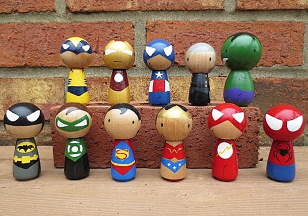 Wooly Llama Kokeshi Style Superheroes Buy Wooden Action Figures