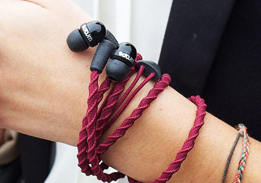 Wraps Wearable Braided Wristband Headphone Bracelet Maroon