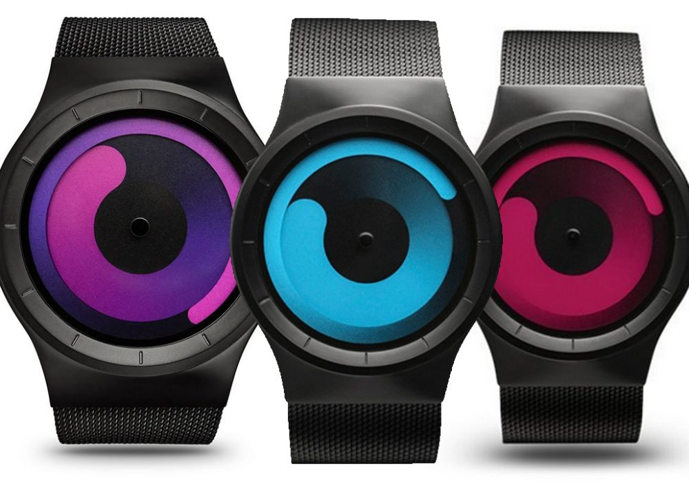 Ziiiro Mercury Watch Black Ocean Purple Magenta Swirl Trendy Watch Minimalist Unique Product