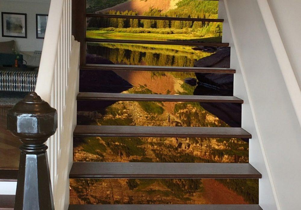 iser Art Maroon Bells Reflection Stairs Decal Stairway Design